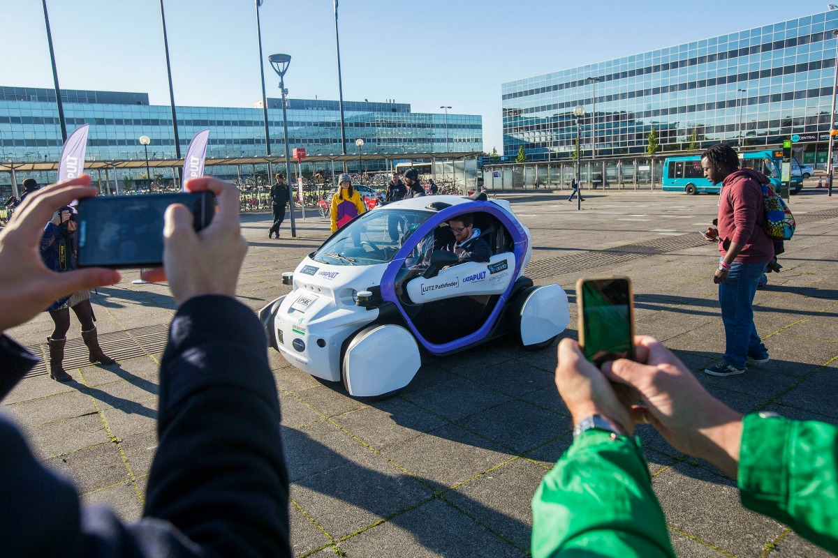 Driverless car became the star in Milton Keynes. Photo courtesy Fabio De Paola/PA