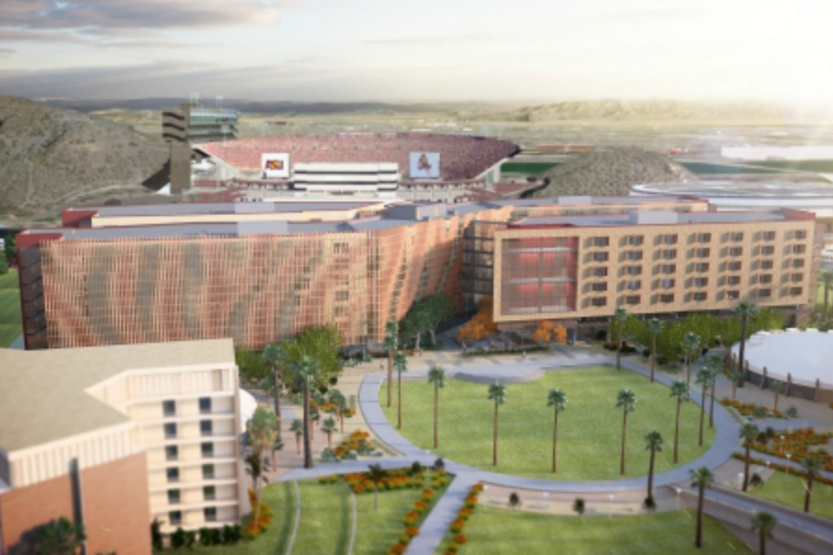 Aerial view of the hall of residence built for engineers at Arizona State University