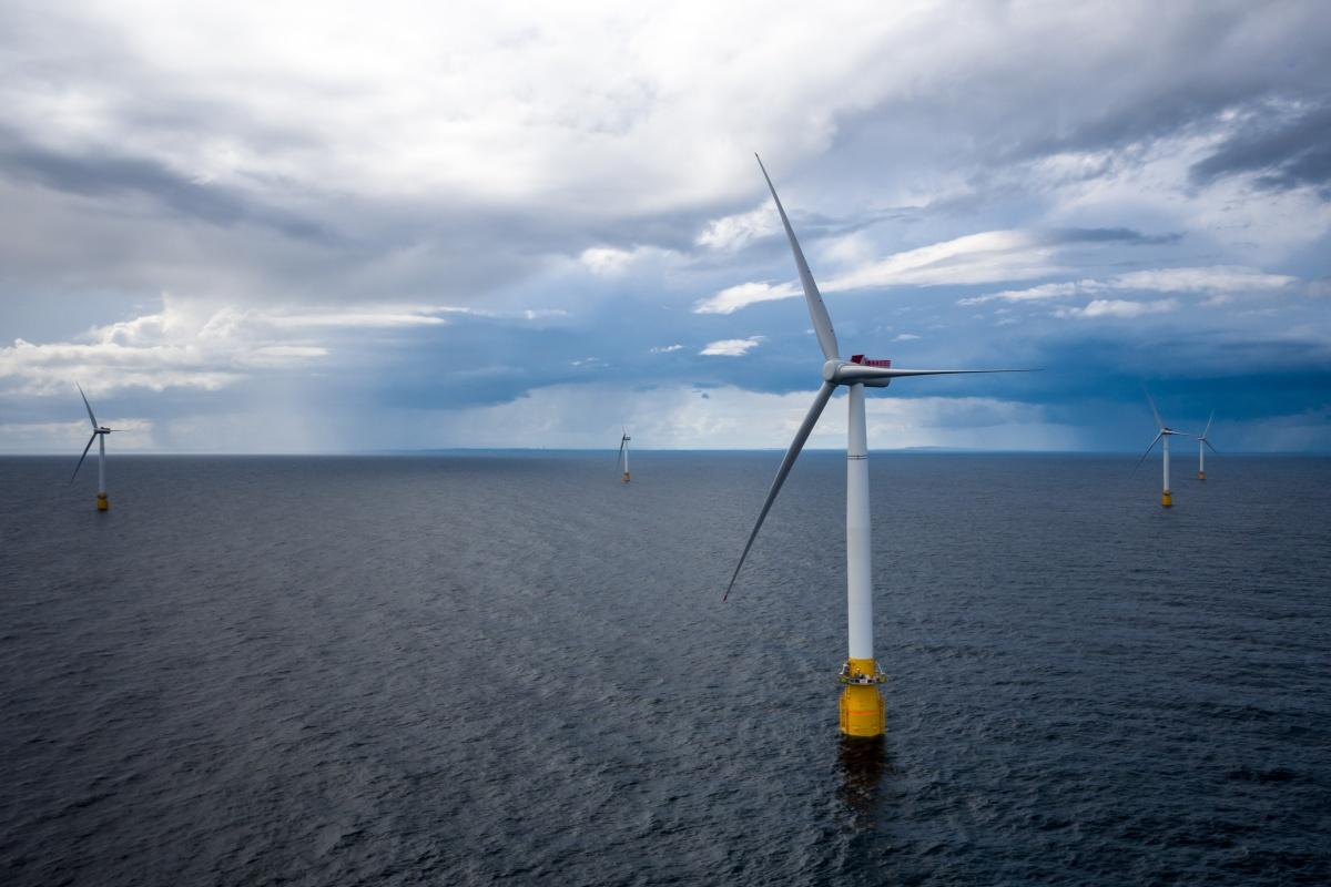 The Hywind floating wind farm. Photo: Øyvind Gravås/Woldcam - Statoil ASA