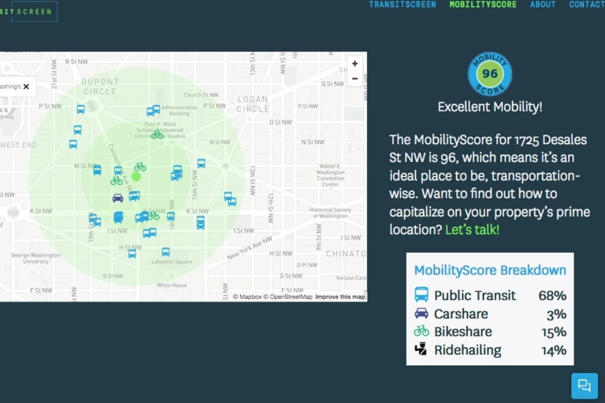 MobilityScore in action, telling an individual how easy it is to get around from their location