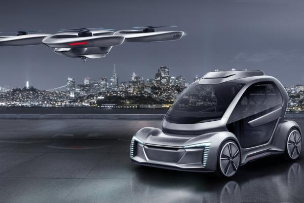 Car and passenger drone on the horizon
