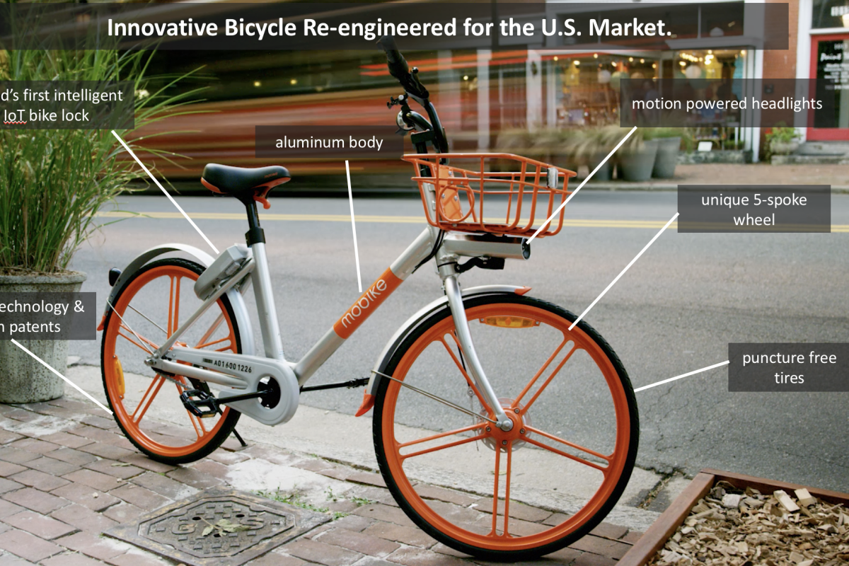 Mobike's silver and orange dockless bike, equipped with smart-lock technology
