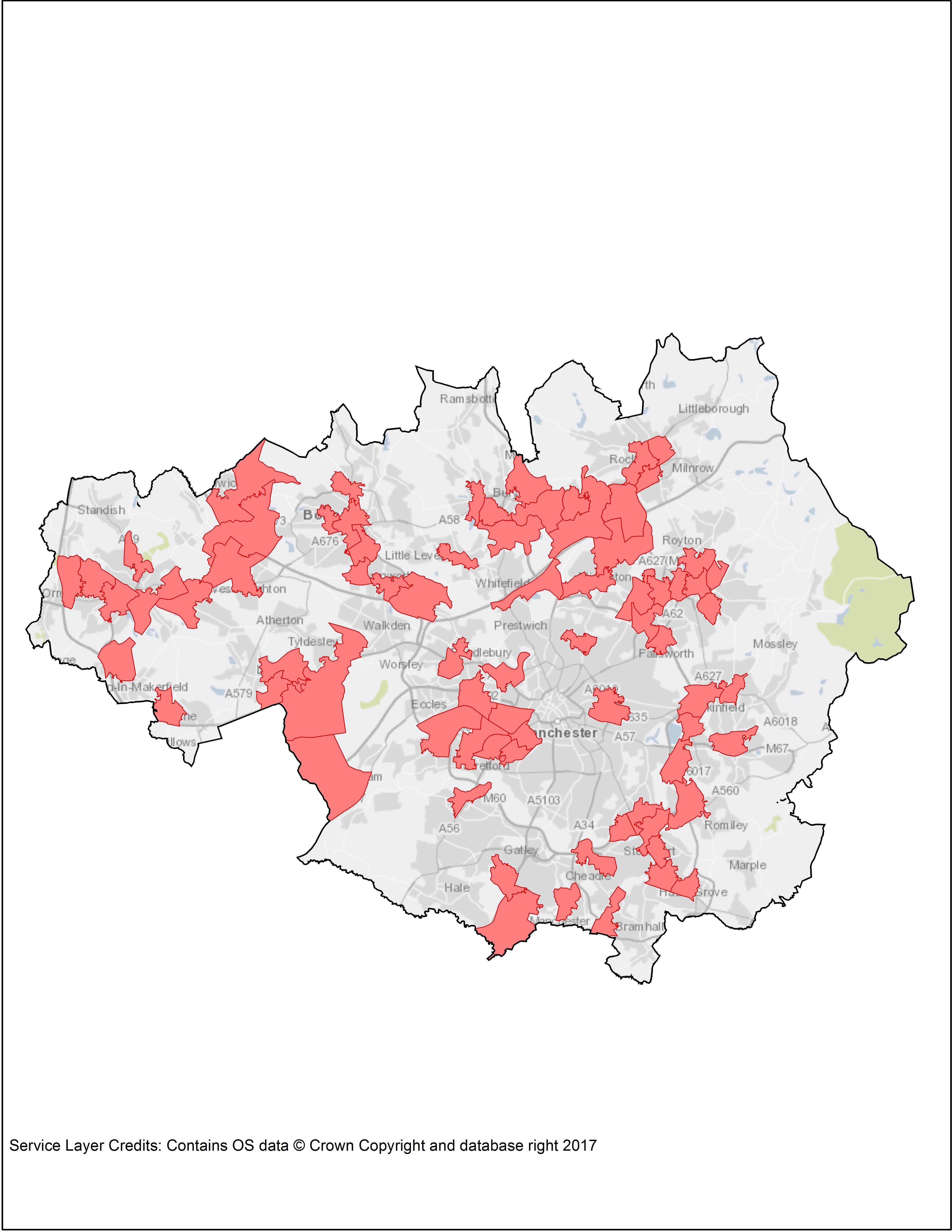 Areas in Greater Manchester with a high workday population and high percentage of car commutes