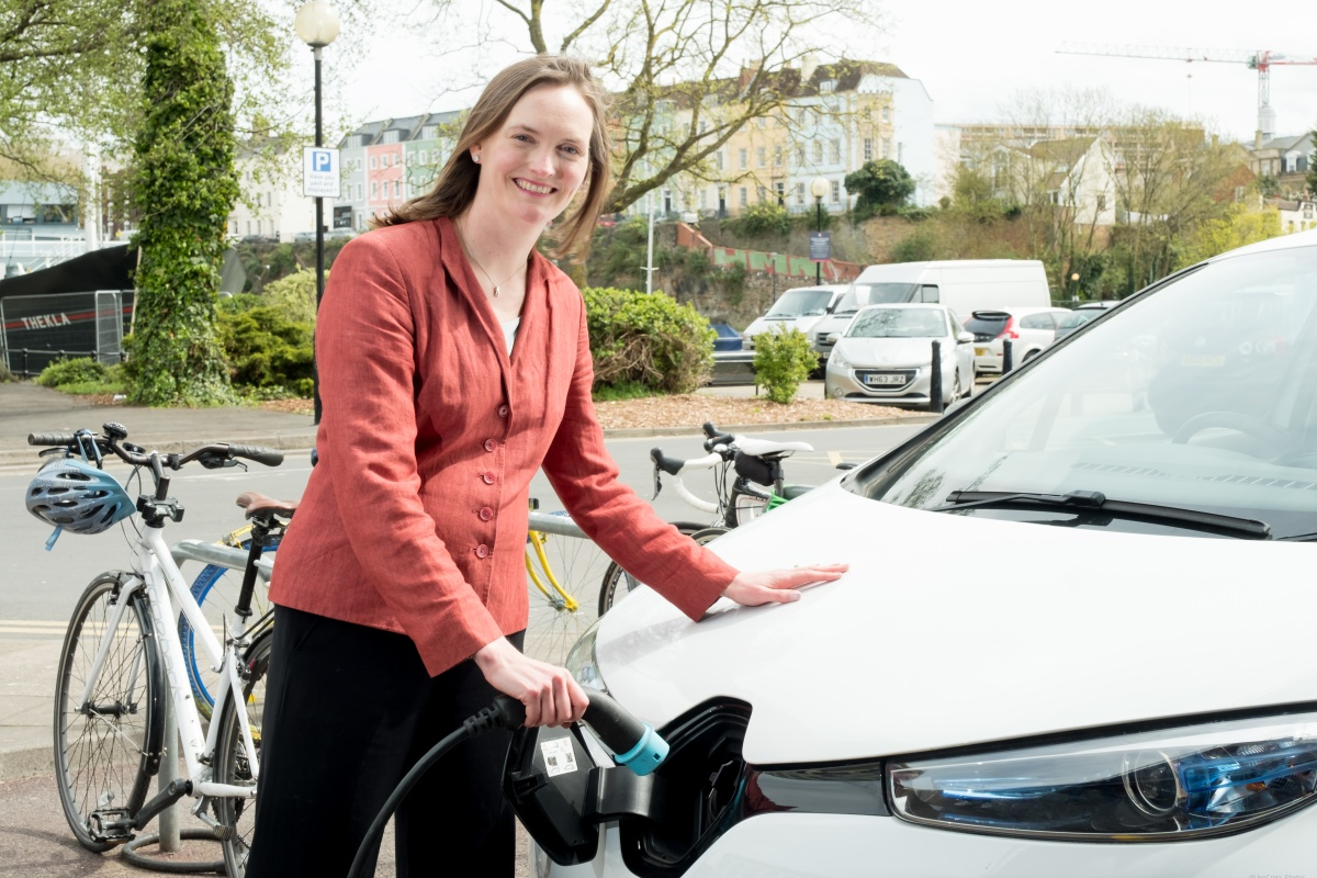 Angela Terry with the Renault Zoe electric car. Photograph: Jon Craig