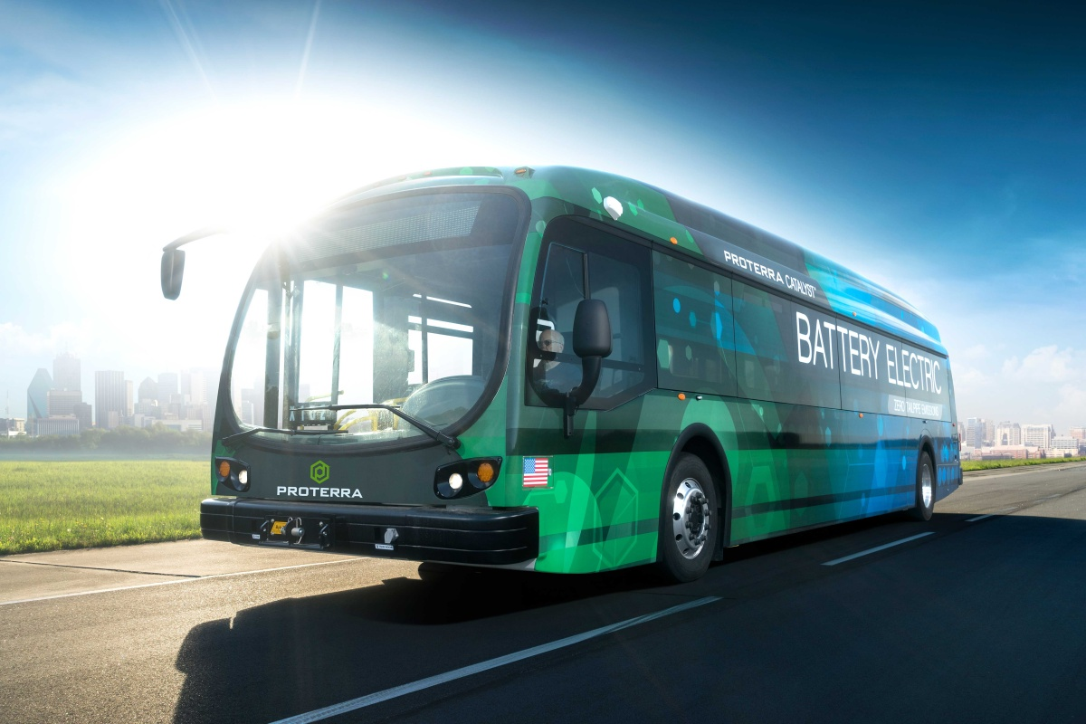 The Proterra Catalyst electric bus which delivers a clean transportation option