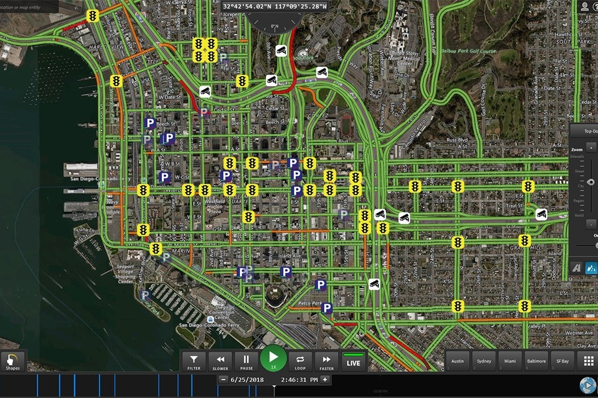 Smart parking and traffic signals and live traffic flow visualised on Live Earth