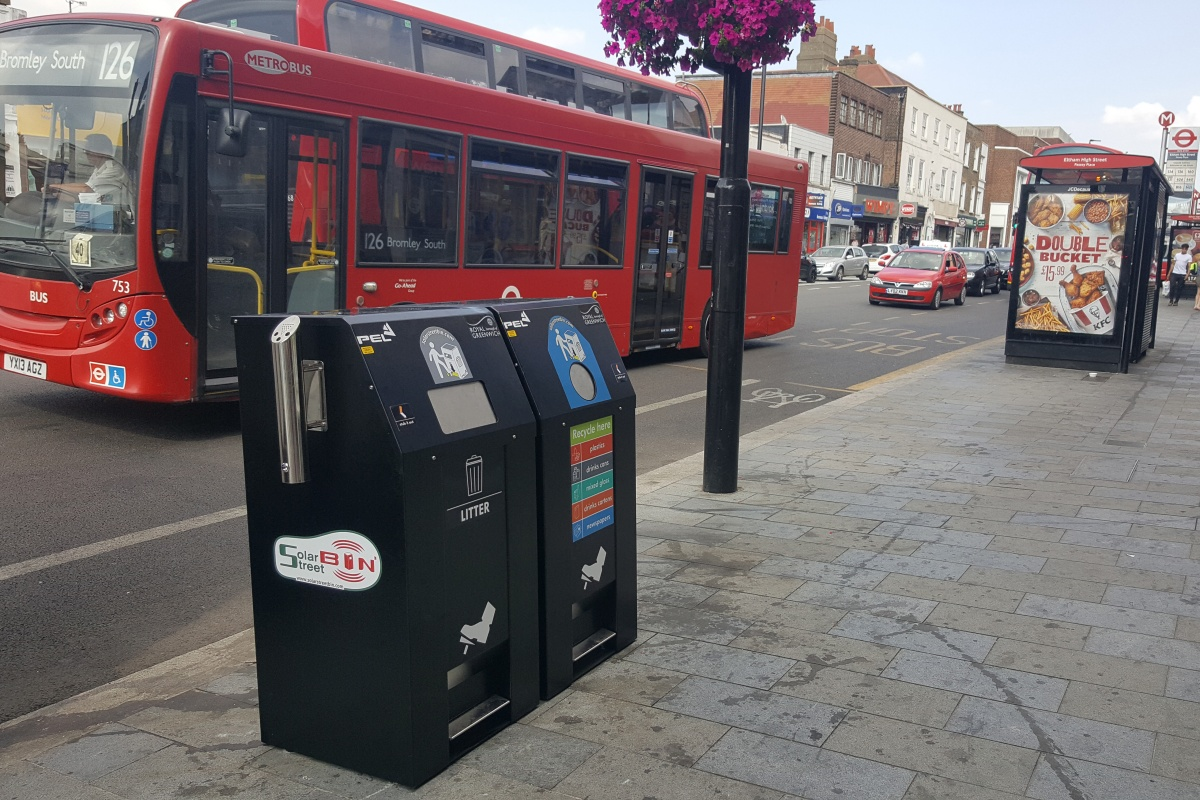 The SolarStreetBins replace the existing double chamber bins in busy locations