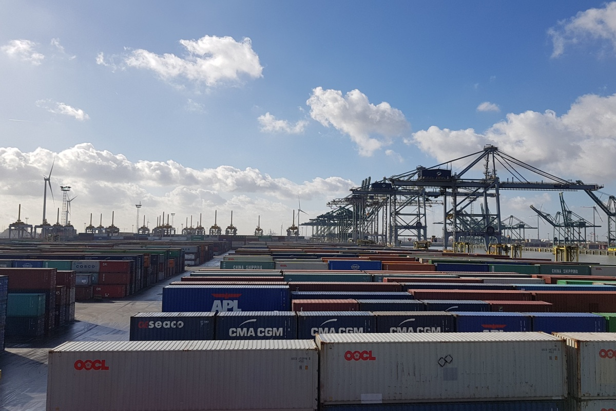 The terminal in Antwerp handles 2.5 million containers every year and 3,000 trucks daily
