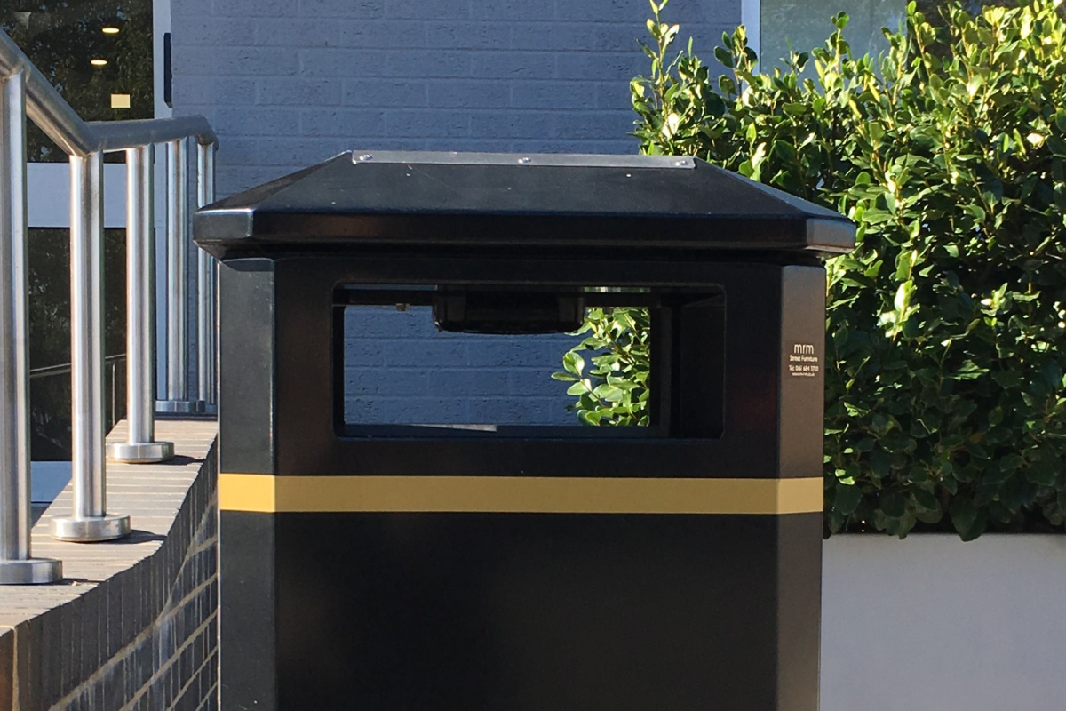 The sensor sits under the top of the bin and is linked to a management system