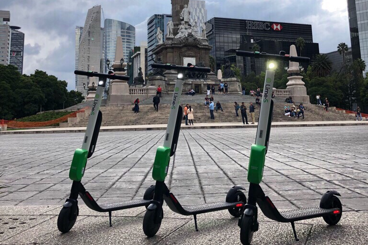 Lime e-scooters line-up ready to hit the streets of Mexico City