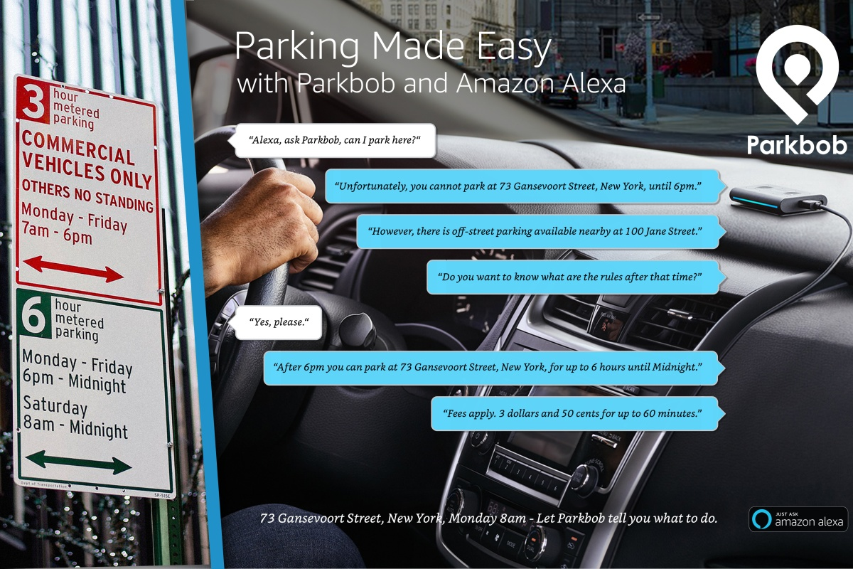 Alexa-enabled devices can help advise on parking in cities. Photo: Parkbob