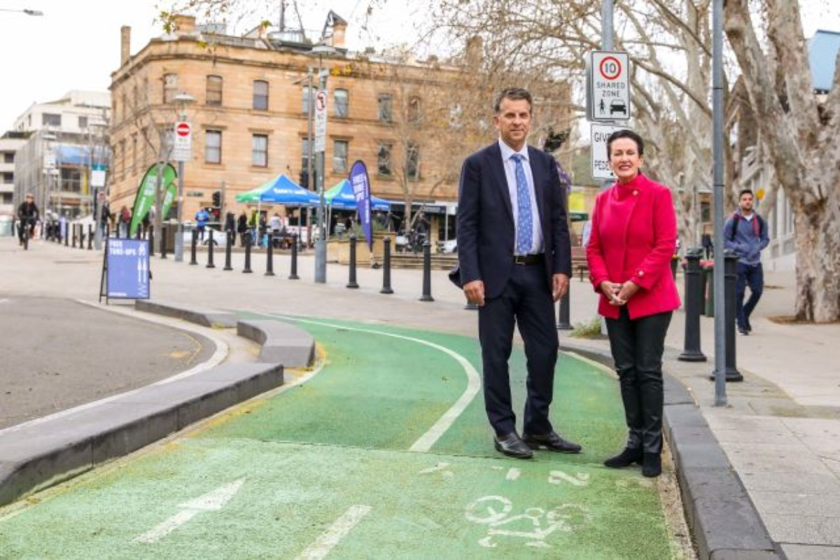 Transport minister, Andrew Constance, and Sydney lord mayor Clover Moore