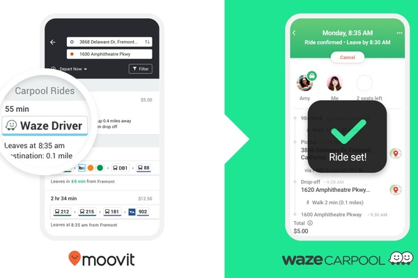 Moovit and Waze launch carpool pilot