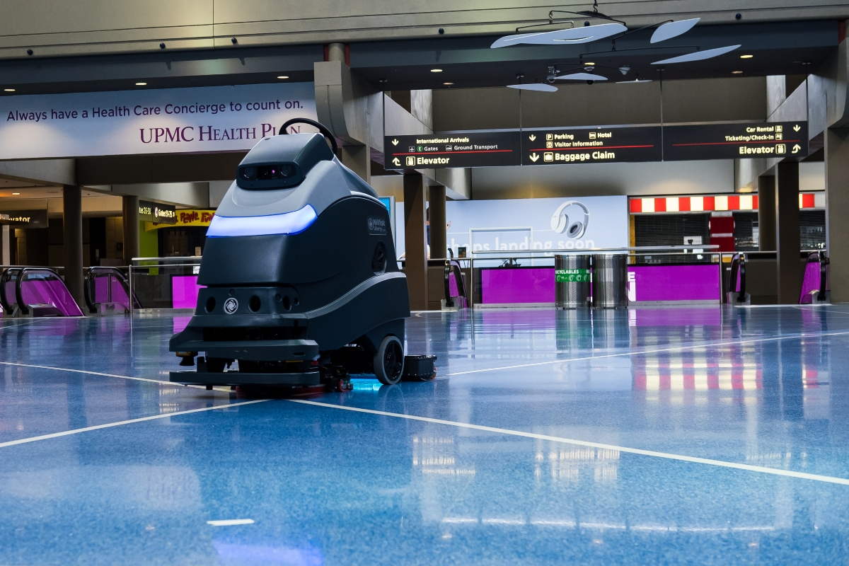 UV robots in action at the airport. Picture: Pittsburgh International Airport/Beth Hollerich