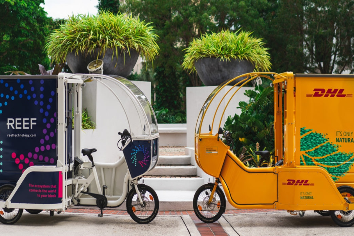 The three-wheel cycles have a cargo container and can pull up to 400 pounds