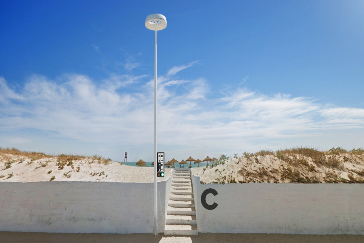 The smart pole generates and stores its own energy via the sun or wind