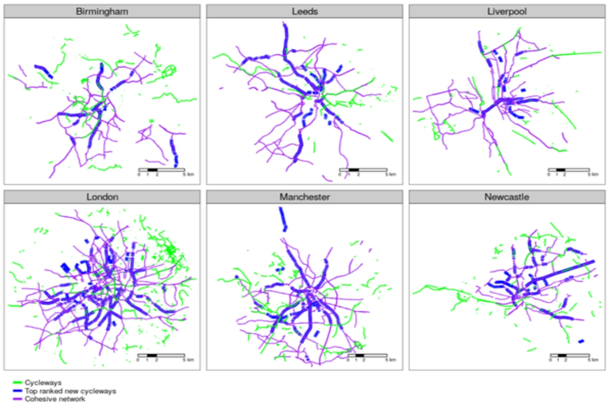 Blue lines show where there is high demand and sufficient space for cycling
