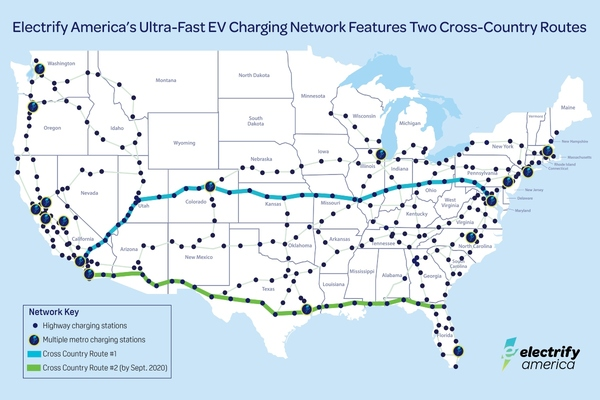 Electrify America completes first cross-country charging route