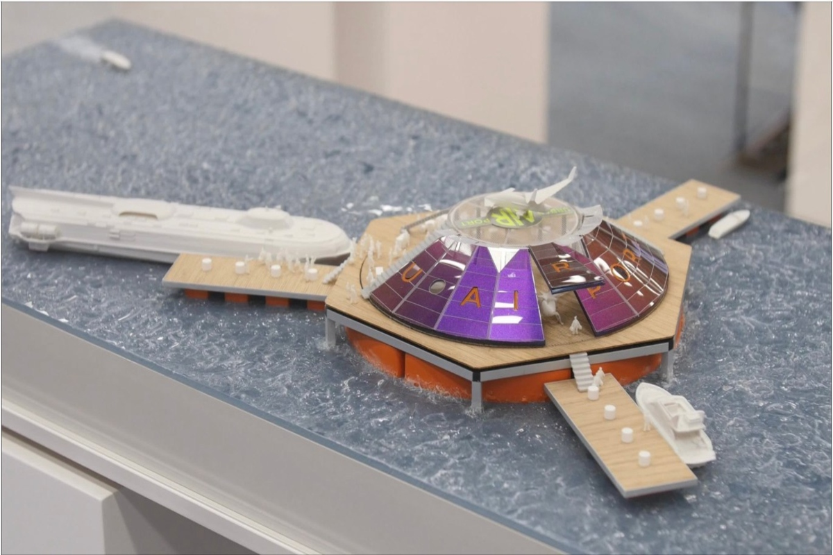 Model of an off-shore floating Urban-Air Port for air taxi services