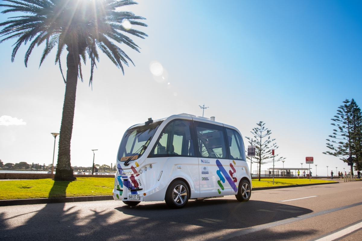 The driverless shuttle provides a new mobility option for Newcastle (Image: Keolis Downer)
