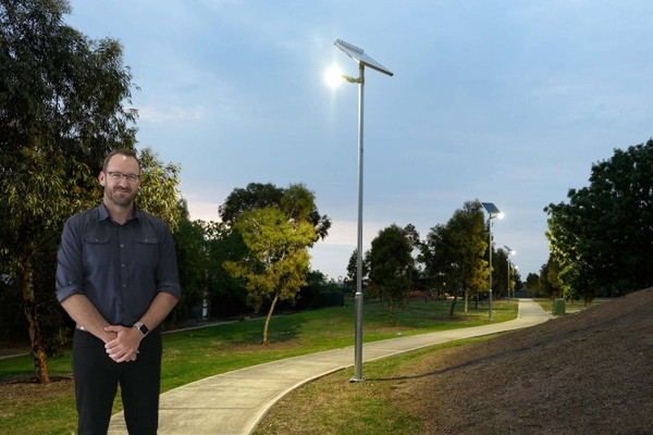 Matt Pollard, CEO of Leadsun in front of one of the smart solar lights in the Tampa community