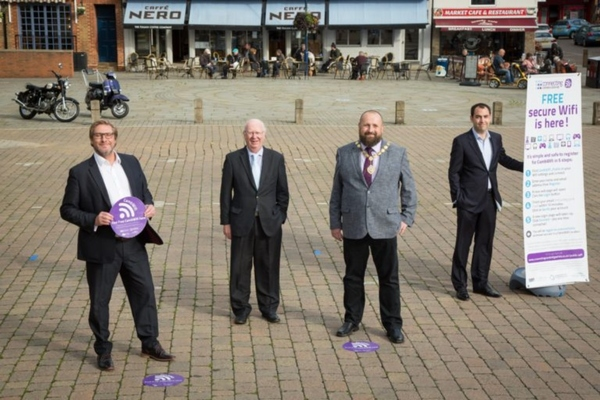 The public access wi-fi is launched in St Neots marketplace, Cambridgeshire