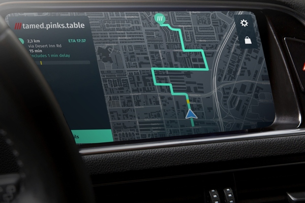 What3words integrated with in-car navigation technology