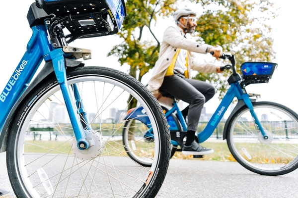 The designated areas are served by Boston's Bluebikes. Photo courtesy: Bluebikes